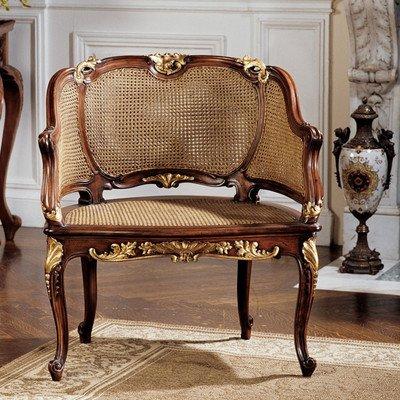 Design Toscano Louis XV French Rattan Chair (French Louis Xv Arm Chair)
