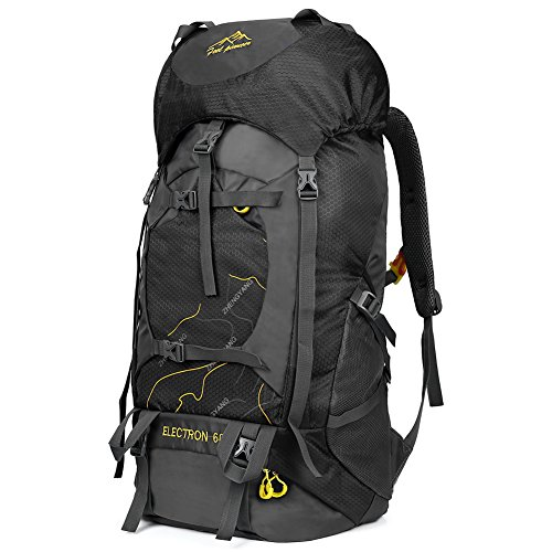 Vbiger 60L Outdoor Backpack Waterproof Backpacking Pack Travel Daypack for Climbing, Hiking, Trekking, Mountaineering, with Rain Cover (Black) by VBIGER