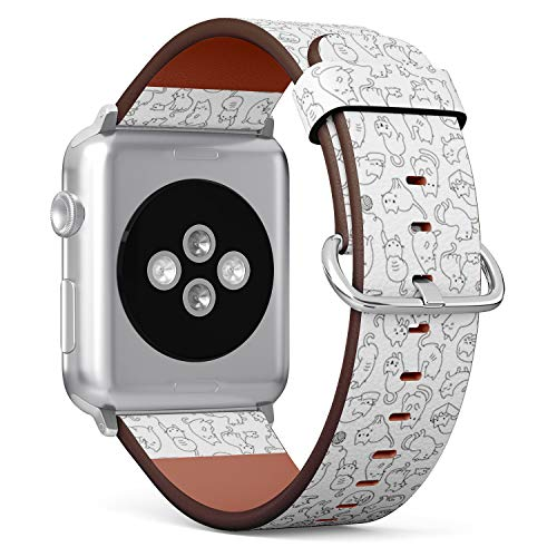 Compatible with Apple Watch 38mm & 40mm Leather Watch Wrist Band Strap Bracelet with Stainless Steel Clasp and Adapters (Cute Cartoon Cat Icons)