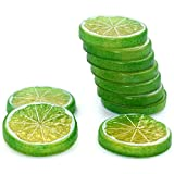 R.FLOWER 10 PCS Highly Simulation Fake Green Lemon Lime Slice Artificial Fruit Model Home Party Decoration