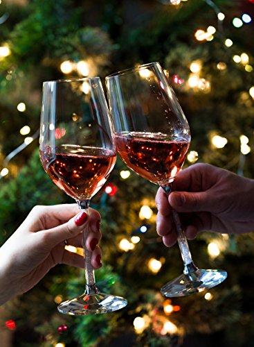 Wine Glasses- Crystal Stemmed Glassware Set (Silver)