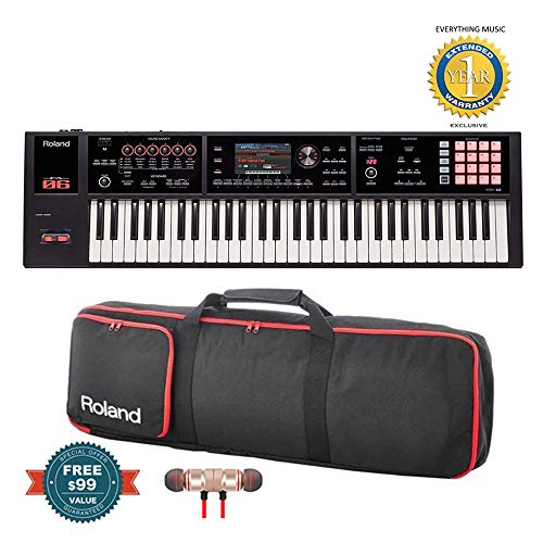 Roland FA-06 61-Key Music Workstation with Gigbag RAM-4879 Bundle includes Free Wireless Earbuds - Stereo Bluetooth In-ear and 1 Year Everything Music Extended Warranty