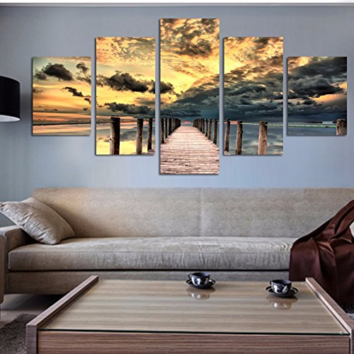 5 Piece Canvas Set (Fine Art 5 Piece Seascape Wall Art Wooden Bridge Painting On Canvas Sunset Ocean Pictures Unique Gift For Home)