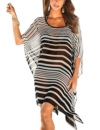 Bsubseach Plus Size Chiffon Black White Striped Beach Cover Ups for Women Loose Batwing Sleeve Swimwear Swimsuit Cover Up Dress