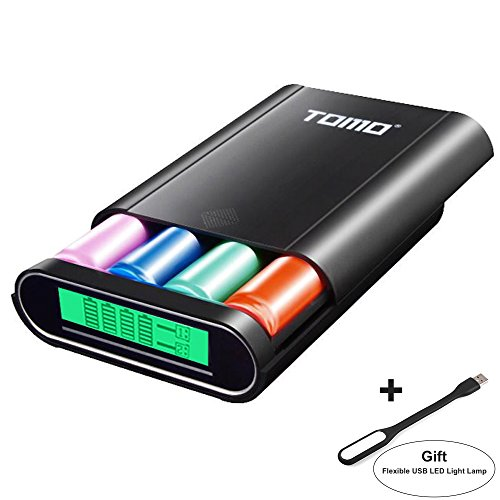 Authentic TOMO M4 3-in-1 Portable 18650 Battery Charger & Dual USB Ports DIY Power Bank with Digital LCD Display for iPhone, iPad, Samsung & More + Flexible USB LED Light Lamp