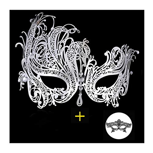 Masquerade Mask for Women Shiny Metal Rhinestone Mask Party Porm Ball Mask Free Lace Mask (Phoenix Silver)