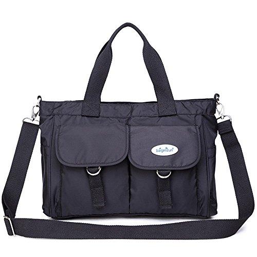 Bolso impermeable de la momia, bolso de hombro de la capacidad grande, bolso de múltiples funciones de la madre, bolso ( Color : Negro ) Negro