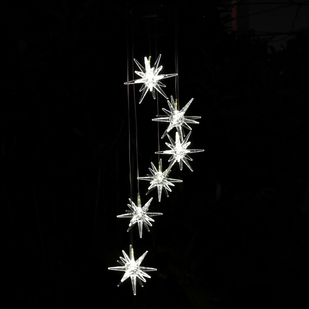 Clear Urchin Star LED Solar Wind Spinner Light Cool White Solar Wind Chimes for OutDoor Gardent