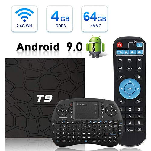 Android TV Box, HAOSIHD T9 Android 9.0 TV Box with Remote Control & Mini Keyboard,4GB RAM 64GB ROM RK3328 Quad-core, Support 4K Full HD Wi-Fi 2.4Ghz BT 4.1 Smart TV Box (black1)