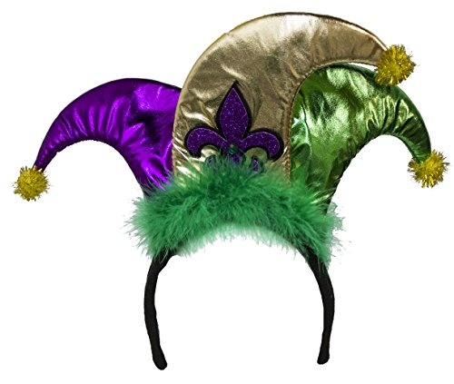 Jacobson Hat Company Mardi Gras Mini Jester Hat With Fleur De Lis Headband