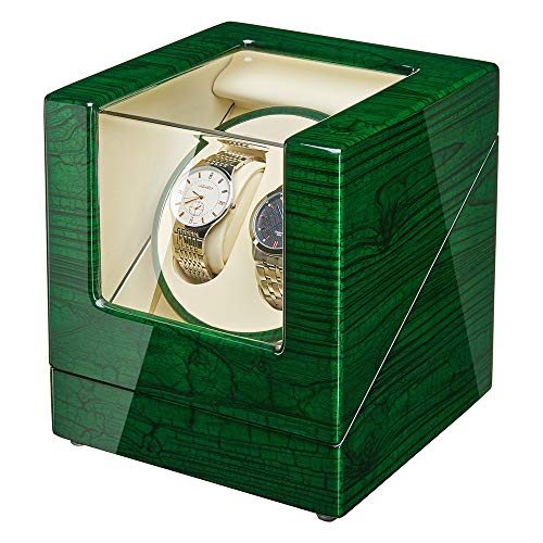 JQUEEN Double Watch Winder with Quiet Japanese Mabuchi Motor (G-Greeen)