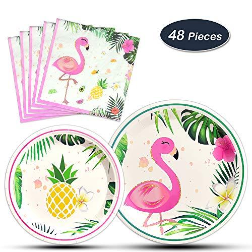 WERNNSAI Flamingo Party Supplies - 48PCS Luau Disposable Summer Hawaiian Themed Tableware Set for Girl Kids Birthday Dinner Dessert Plates and Napkins Serves 16 -