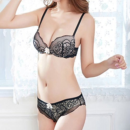 angel3292 Hot sale 2018 Fashion Vine Pattern Embroidery Bowknot Women Underwear Push Up Bra Lace Briefs (Vines Embroidery)