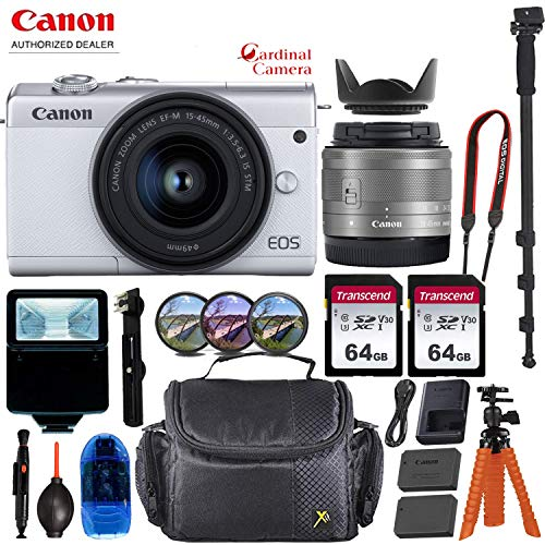 Canon EOS M200 Mirrorless Digital Camera - White w/ 15-45mm Lens + Pro Accessory Bundle (Including Digital Flash, Sturdy Equipment Carrying Case, 2X 64GB Transcend Memory Cards and More.)
