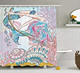 Ambesonne Mermaid Shower Curtain by, Cartoon Mermaid in Sea Sirens of Greek Myth Female Human with Tail of Fish Image, Fabric Bathroom Decor Set with Hooks, 70 Inches, Pink Blue