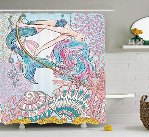 Ambesonne Mermaid Shower Curtain by, Cartoon Mermaid in Sea Sirens of Greek Myth Female Human with Tail of Fish Image, Fabric Bathroom Decor Set with Hooks, 70 Inches, Pink - Mermaids Decor