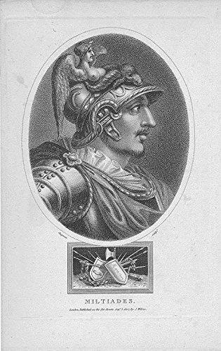 Miltiades warrior goddess helmet original antique c.1820 engraved portrait print
