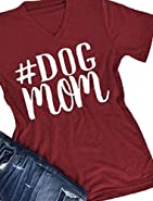 FAYALEQ Dog Mom Funny T-Shirt Women's Casual Letter Print Short Sleeve Tee Tops Blouse