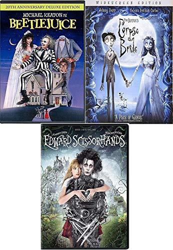 Scientist ghosts Bride Beetlejuice DVD Movie Tim Burton with TV Animated episodes + Edward Scissorhands & Corpse Bride 3 Pack -