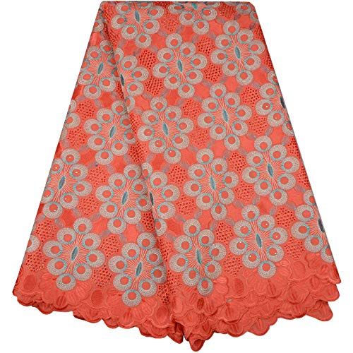 Hot Sale African Cotton Swiss Voile Lace Fabric with Stones Swiss Voile Lace in Switzerland African Lace Fabric 998(Orange)