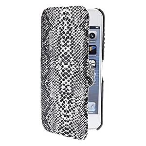CeeMart Black Snake Skin Textured Clamshell Design Case with Interior Flocking Protection for iPhone 5/5S (Optional Colors)