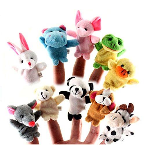 10 Cartoon Animal Finger Puppet Plush Toys - 6
