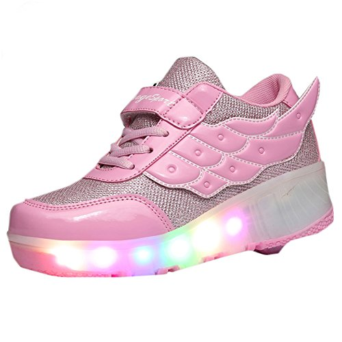 Price comparison product image CPS Kids Adults LED Light Up Sneakers Wing Single Wheels Roller Skate Shoes(4 M US=CN36, Pink)