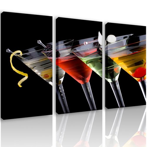 S56 - GLASSES - 3 quadri moderni 120x80 cm - Stampa digitale su ...