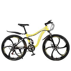 51PZ3M7Nl L. SS300 26 Pollici Adulto Mountain Bike Assorbimento degli Urti in Acciaio al Carbonio Ad Alta velocità Auto Studente Studente Bicicletta per Adulti A Cavallo Gita A Scuola per Lavorare,Giallo,27 Speed