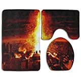 Bathroom Non-Skid Carpet Bath Rugs 3 Pieces Set Water-Absorbing Volcano Burst in City Flannel Toilet Floor Bath Mats Contour Rug Lid Cover