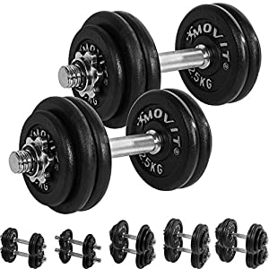 MOVIT® Gusseisen Kurzhantel 2er Set, Varianten 20kg, 30kg, 40kg, 50kg, 60kg,...