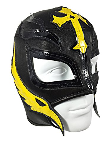 [REY MYSTERIO Adult Lucha Libre Wrestling Mask (pro-fit) Costume Wear - Black/Yellow] (Wwe Wrestling Costumes For Adults)