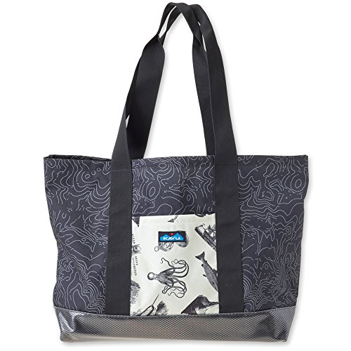 KAVU Shilshole Tote Bag, Black Topo, One Size