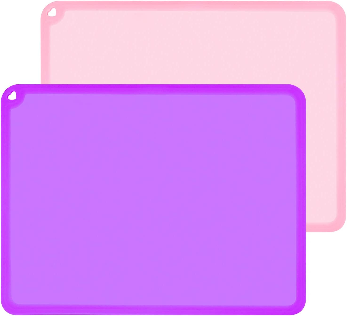 Silicone Placemats for Kids, Baby Placemats for Toddler Children Reusable Non-Slip Large Silicone Sheets for Crafts Resin Jewelry Casting Table Mats, 2 Pack, Purple/Baby Pink
