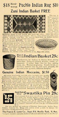 1906 Ad Francis E Lester Zuni Indian Basket Pueblo Rug - Original Print Ad (Pueblo Baskets)