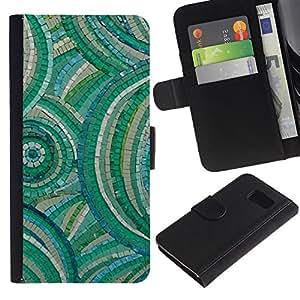 Planetar® Modelo colorido cuero carpeta tirón caso cubierta piel Holster Funda protección Para Samsung Galaxy S6 / SM-G920 ( Nature Green Pattern Marble )