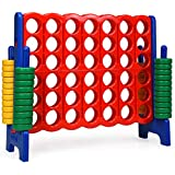 COSTWAY Jumbo 4-to-Score Giant Game Set, 4 in A Row for Kids and Adults, 3.5FT Tall Indoor & Outdoor Game Set with 42 Jumbo Rings & Quick-Release Slider, Perfect for Holiday Party & Family Game