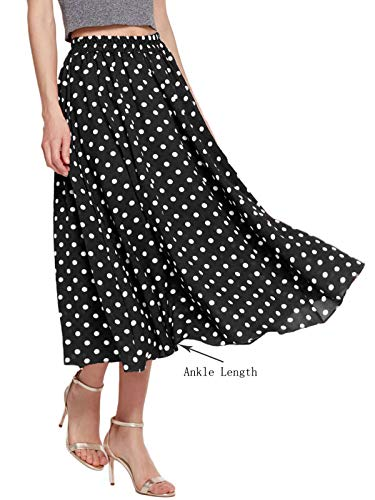 Amormio Women's Cute Polka Dot Printed Chiffon A-Line Swing Boho Long Maxi Pleated Skirts (Noble Black, ()