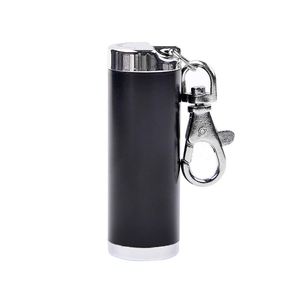 LABOTA Cilíndrico Mini cenicero de Cigarrillo portátil, aleación de Zinc, Negro 1 Ashtray-black