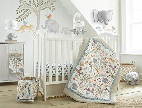 Levtex Baby Jungalo Natural Animal Themed 5 Piece Crib Bedding Set 3-tiered Dust Ruffle 100/% Cotton Crib Fitted Sheet Quilt Diaper Stacker and Large Wall Decals