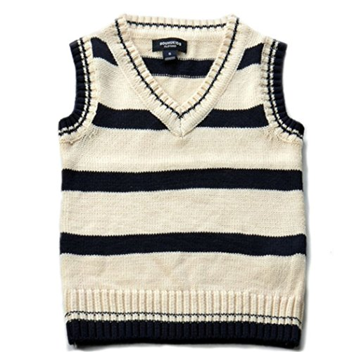 SOUHUKIDS Toddler Boys Knit Sweater Vest V-Neck Argyle Thin Students Pullover Autumn Strip Sleeveless Top Outwear for 2-3T Beige