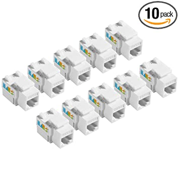 TENINYU 10-Pack RJ45 Keystone Jack Module Connector 568A/568B, Keystone on