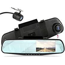 Pyle Backup Dash Cam Car Recorder DVR Front & Rear View Video - 4.3 Inch Monitor Windshield Mount - Full Color HD 1080p Security Backup Camcorder - PiP Night Vision Audio Record Micro SD (PLCMDVR47)