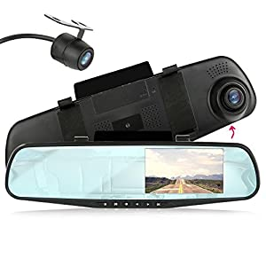 Pyle Dash Cam Car Recorder DVR Front & Rear View Video - 4.3 Inch Monitor Windshield Mount - Full Color HD 1080p Security Backup Camcorder - PiP Night Vision Audio Record Micro SD (PLCMDVR47)