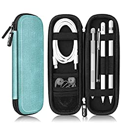Fintie Holder Case for Apple Pencil 1st 2nd Gen, PU Leather Carrying Bag Sleeve with Mesh Pocket for iPad Air 3rd Gen, iPad Mini 5, iPad Pro Pencil, Samsung Stylus, Surface Pen, Wacom Pen, Turquoise