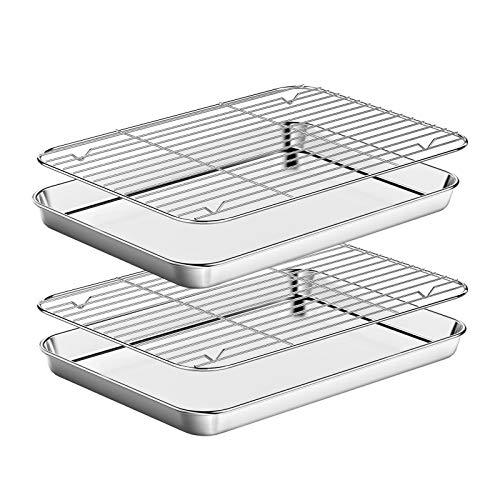 Baking Sheet with Rack Set [2 Pans + 2 Racks ] HKJ Chef Stainless Steel Cookie Sheet Baking Pan Tray with Cooling Rack…