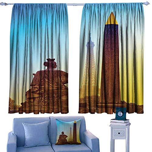 DONEECKL Room Darkening Wide Curtains Eiffel Tower Decor France Place De La Concorde Obelisk and The Eiffel Tower Landmark of The City Tie Up Window Drapes Living Room W84 xL72