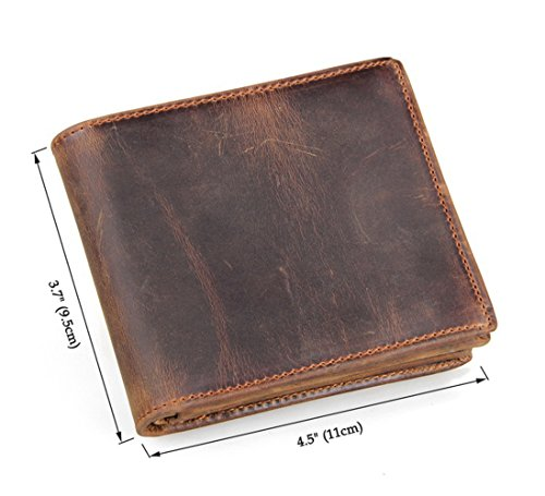 HRS Genuine Leather Wallet Bifold Distressed Wallets for Men Italian Wallet Handmade with RFID Blocking (brown) by HRS (Image #5)