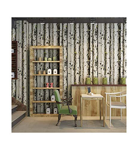 - Wallpaper 3D Three-Dimensional Birch Forest Tree bark Tree Pattern Wood Grain Personality Coffee Wallpaper Background Wall