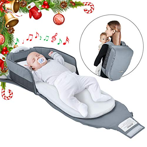 Mission Lounger (4 in 1 | Portable Bassinet | Foldable Baby Bed | with Light and Music Baby Lounger Travel Crib Infant Cot Newborn As A Diaper Bag Changing Station Seat Tummy Time Folding Crib Nursery)